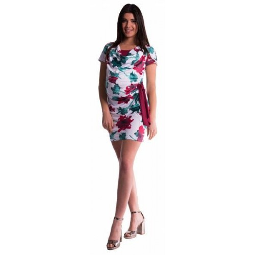 Be MaaMaa Těhotenské a kojící šaty s květinovým potiskem, s mašlí - červené/bordó, XS (32-34)