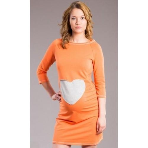 Be MaaMaa Těhotenské šaty, tunika SRDCE -  oranž, pomeranč, XL/XXXL