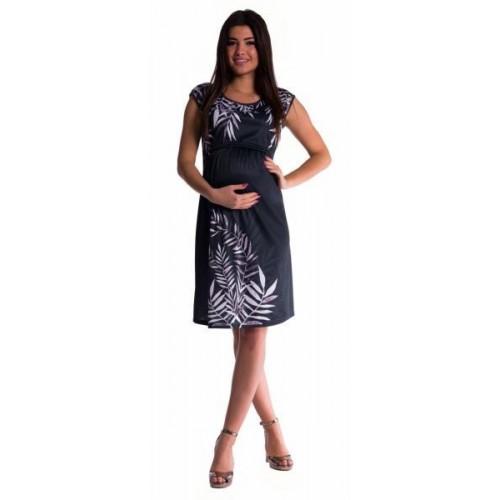 Be MaaMaa Těhotenské  a kojící šaty palma - černé - vel. S, S (36)