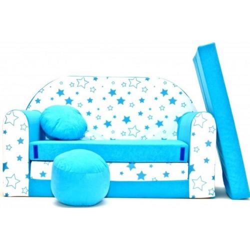 Rozkládací dětská pohovka Nellys ® 85R - Magic stars - modré