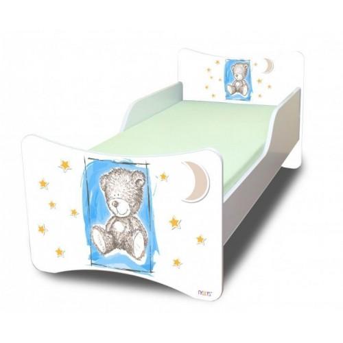 NELLYS Dětská postel se zábranou Sweet Teddy - modrý, 200x90 cm, 200x90
