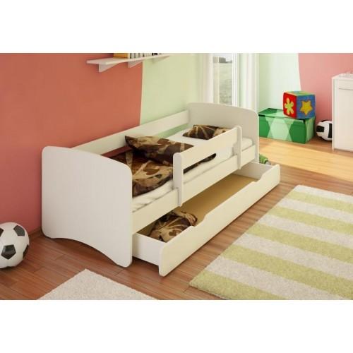 NELLYS Dětská postel s bariérkou a šuplíkem Filip - bílý, 160x80 cm, 160x80