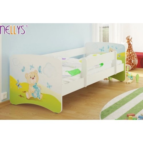NELLYS Dětská postel s bariérkou Nico - Míša dáreček/bílá - 160x80 cm, 160x80