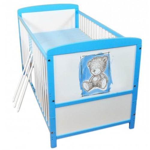 Dřevěná postýlka 2 v 1 Nellys Sweet Dreams by Teddy - modrá/bílá, 120x60