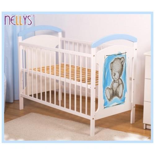 Dřevěná postýlka TEDDY Nellys - modrá/bílá, 120x60