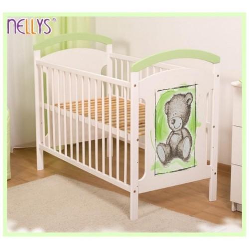 Dřevěná postýlka Teddy Nellys - zelená/bílá, 120x60