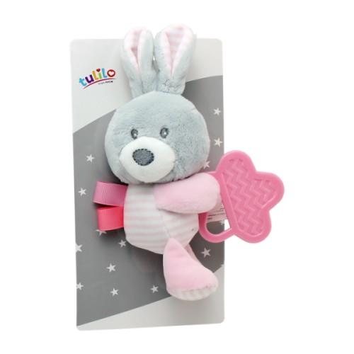 plyšová hračka tulilo s kousátkem králíček, 16 cm - růžový