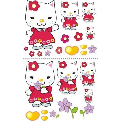 Nálepky, dekorace na stěnu 70x100 cm - Kočička s kytičkou