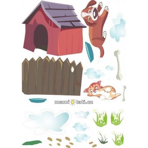 Nálepky, dekorace na stěnu 70x100 cm, Pejsek a kočička