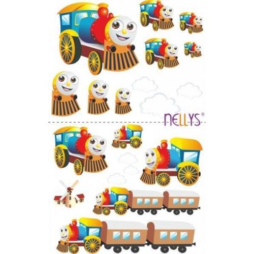 Nálepky, dekorace na stěnu 70x100 cm - Veselá lokomotiva