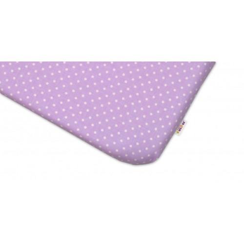 Bavlněné prostěradlo 60x120cm -  Tečky fialové, 120x60