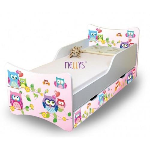 NELLYS Dětská postel se zábranou a šuplík/y Sovičky  - 160x80 cm, 160x80