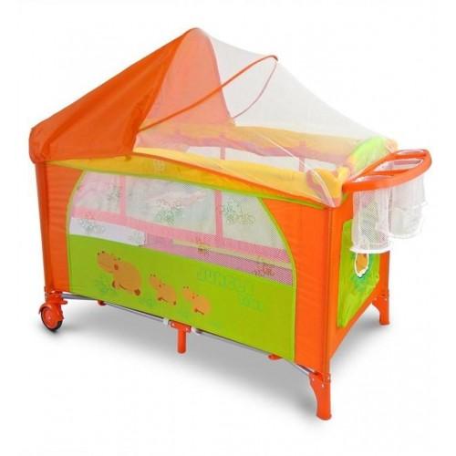 Cestovní postýlka Milly Mally Mirage Deluxe hippo oranžová