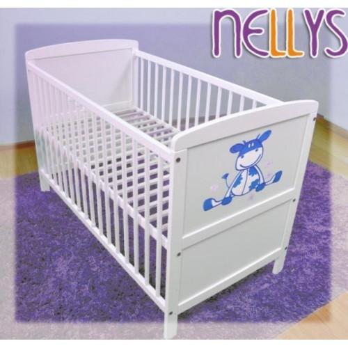 Dřevěná postýlka Nellys bílá - kravička modrá, 120x60, 120x60