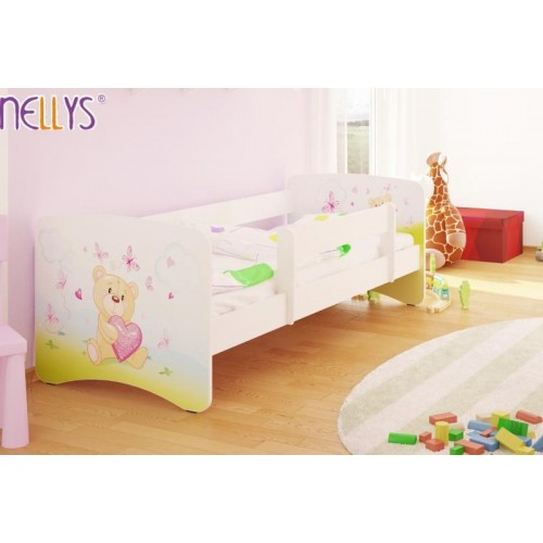 NELLYS Dětská postel s bariérkou Nico - Míša srdíčko/bílá - 160x80 cm, 160x80