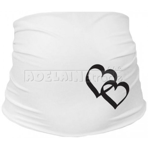 Těhotenský pás se srdíčky, vel. L/XL - bílý, L/XL