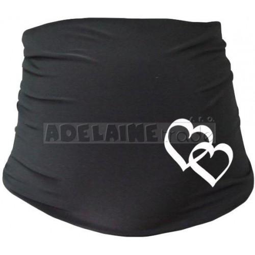 Těhotenský pás se srdíčky, vel. L/XL - černý, L/XL